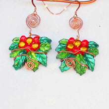 Load image into Gallery viewer, Sabana Christmas Holly Leaves Earrings blow up view