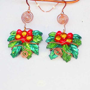 Sabana Christmas Holly Leaves Earrings blow up view