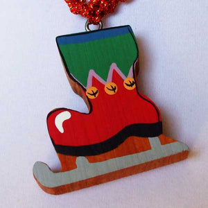 Ulrica Christmas Skates Necklace blow up view