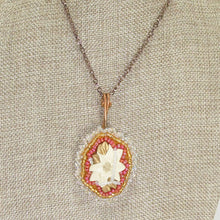Load image into Gallery viewer, Valburga Christmas Bead Embroidery Poinsettia Necklace close up view front