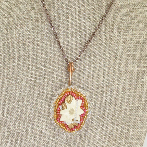 Valburga Christmas Bead Embroidery Poinsettia Necklace close up view front