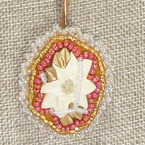 Valburga Christmas Bead Embroidery Poinsettia Necklace blow up view front