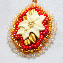 Load image into Gallery viewer, Valburga Christmas Bead Embroidery Poinsettia Necklace pin up view