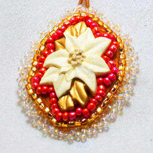 Valburga Christmas Bead Embroidery Poinsettia Necklace pin up view