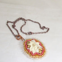 Load image into Gallery viewer, Valburga Christmas Bead Embroidery Poinsettia Necklace flat view