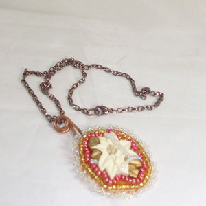 Valburga Christmas Bead Embroidery Poinsettia Necklace flat view