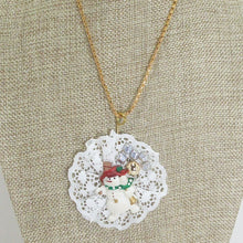 Load image into Gallery viewer, Balbina Christmas Lace Pendant Necklace close up view front
