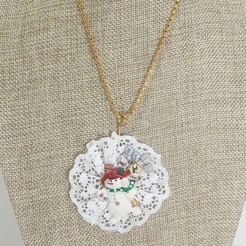 Abianne Lace Snowman Pendant Necklace close up view front