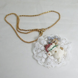 Balbina Christmas Lace Pendant Necklace flat view