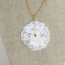 Load image into Gallery viewer, Balbina Christmas Lace Pendant Necklace back view
