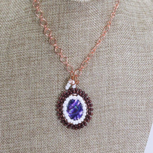 Load image into Gallery viewer, Ofira Bead Embroidery Pendant Necklace close up view