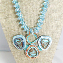 Load image into Gallery viewer, Jackalyn Bead Embroidery Beaded Pendant Necklace close up view