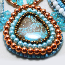Load image into Gallery viewer, Jackalyn Bead Embroidery Beaded Pendant Necklace BE # 2 close up view