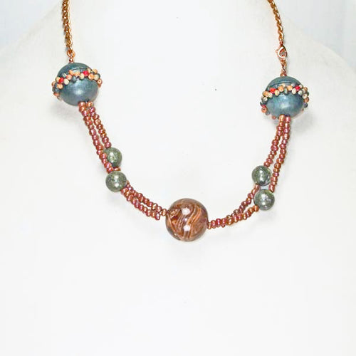 Oba Two Strand Beaded Necklace relevant front view