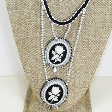 Load image into Gallery viewer, Queisha Beaded Bead Embroidery Pendant Necklace close up view