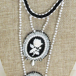 Queisha Beaded Bead Embroidery Pendant Necklace blow up view