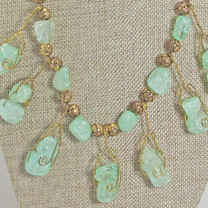 Sachi Beaded Green Agate Necklace blow up view