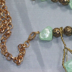 Sachi Beaded Green Agate Necklace clasp view