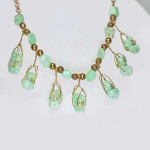 Sachi Beaded Green Agate Necklace pin up view