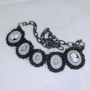 Raegan Beaded Bead Embroidery Pendant Necklace flat view