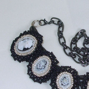 Raegan Beaded Bead Embroidery Pendant Necklace clasp view