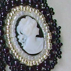 Raegan Beaded Bead Embroidery Pendant Necklace pin up view