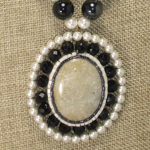 Paciana Bead Embroidery Cabochon Pendant Necklace pin up view