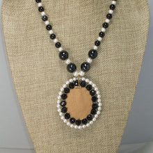 Load image into Gallery viewer, Paciana Bead Embroidery Cabochon Pendant Necklace back close view