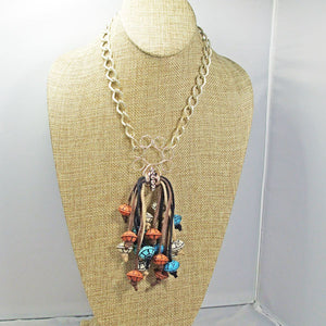 Ebe Beaded Dangle Pendant Necklace front relevant view