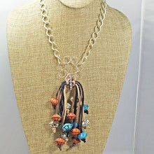 Load image into Gallery viewer, Ebe Beaded Dangle Pendant Necklace front close view