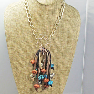 Ebe Beaded Dangle Pendant Necklace front close view
