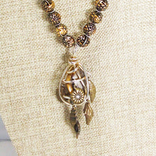 Load image into Gallery viewer, Idalia Caged Stone Pendant Necklace close up view