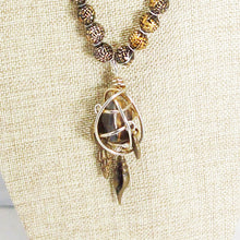 Load image into Gallery viewer, Idalia Caged Stone Pendant Necklace back view