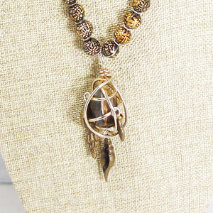 Idalia Caged Stone Pendant Necklace back view