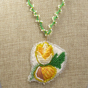 Eathelin Beaded Embroidery Necklace front close view