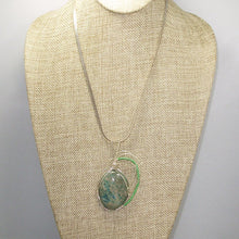 Load image into Gallery viewer, Gala Chrysocolla Cabochon Pendant Necklace front relevant view