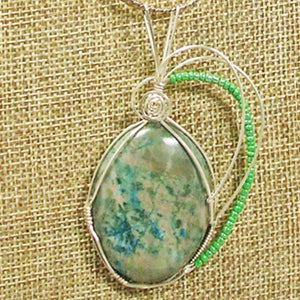 Gala Chrysocolla Cabochon Pendant Necklace front blow up view