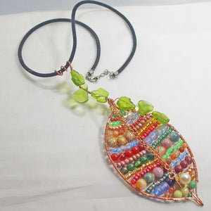 Valeska Beaded Wire Design Pendant Necklace flat view