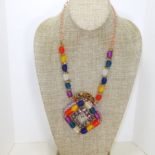 Sabria Beaded Bead Embroidery Pendant Necklace relevant front view