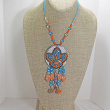 Load image into Gallery viewer, Wanda Bead Embroidery Pendant Necklace front relevant view