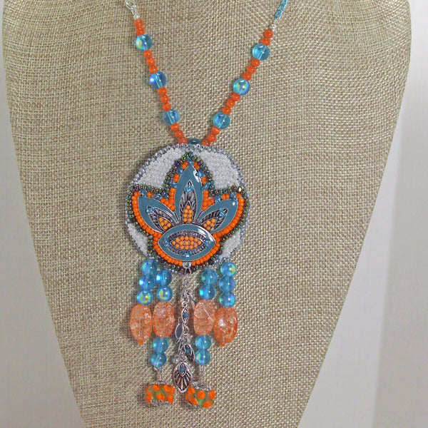 Wanda Bead Embroidery Pendant Necklace front close view