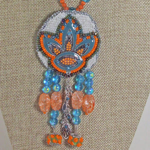 Wanda Bead Embroidery Pendant Necklace front blow up view
