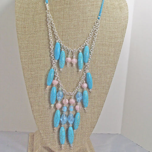 Ulla Beaded Double Strand Necklace close up front view