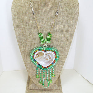 Utulani Beaded Bead Embroidery Pendant Necklace relevant front view