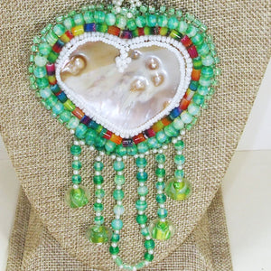 Utulani Beaded Bead Embroidery Pendant Necklace blow up view