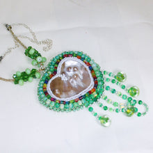 Load image into Gallery viewer, Utulani Beaded Bead Embroidery Pendant Necklace flat view