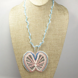 Fabrizia Bead Embroidery Butterfly Necklace front relevant view