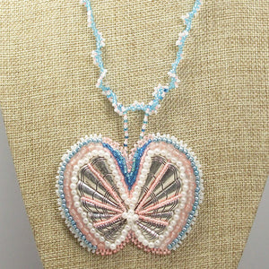 Fabrizia Bead Embroidery Butterfly Necklace front close view