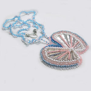 Fabrizia Bead Embroidery Butterfly Necklace flat view