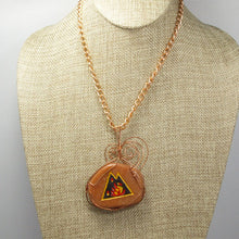 Load image into Gallery viewer, Sabra Worry Stone Cabochon Pendant Necklace back close view